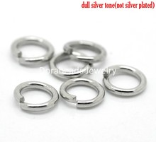 Doreen Box Lovely 500PCs Silver Tone Stainless Steel Open Jump Rings 7mm x 1.2mm (B18879)
