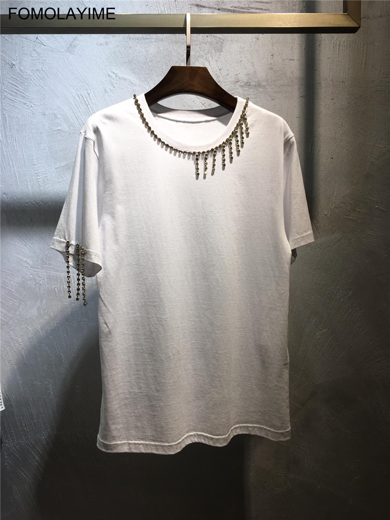 FOMOLAYIME Women Tops Tees 2019 New Arrival Summer O Neck Tassel T-shirts