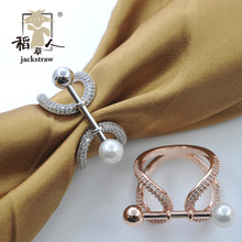 Pure copper multi-function zircon ring shaped pearls rail chain.scarves buckle, jewelry contracted scarf ring shawl buckle(China)
