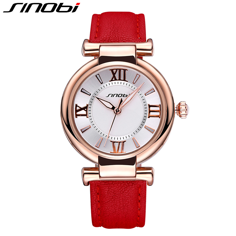 SINOBI Women Watch Luxury timepiece Waterproof Leather Fashion Red Gold Quartz Watches Wristwatch Simple Lady Clock Montre Femme<br><br>Aliexpress