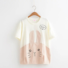 Womens T Shirts Mori Girls Tee Tops O-Neck Cartoon Cute Rabbit Embroidery Stitching Letters Loose Ladies T-shirt Summer New