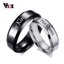 Vnox His Queen Her King Wedding Rings for Women Men Stainless Steel Anniversary Band Valentine's Day Gift Customize Info(China)