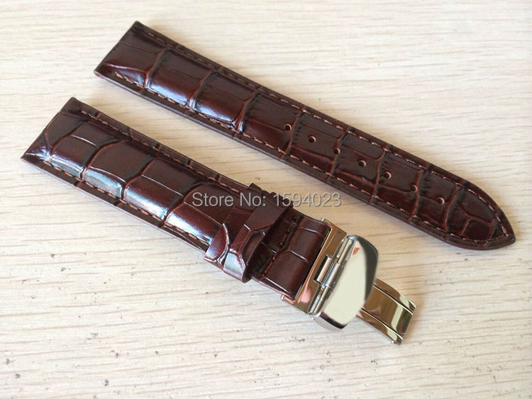 20mm (Buckle18mm) T019430 High Quality Silver Butterfly Buckle + Brown Genuine Leather Watch Bands Strap<br><br>Aliexpress
