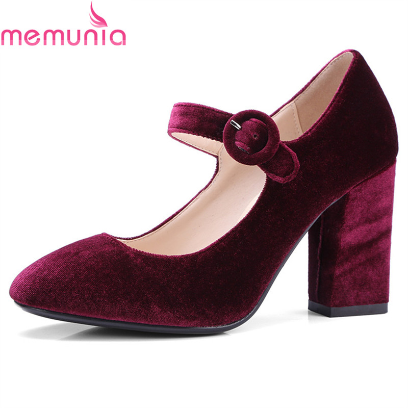 MEMUNIA large size 2018 fashion buckle high heels shoes simple round toe high quality solid hot sale women pumps<br>