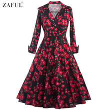 ZAFUL 2017New 3/4 Cuff Sleeves Women Rose Flower Print Vintage Dress Party Prom Swing Rockabilly Retro Casual Feminino Vestidos(China)