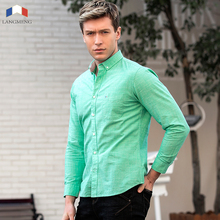 LANGMENG 2017 Long Sleeve Slim Men Dress Shirt  Brand New Fashion Designer High Quality Solid Male Clothing Fit Business Shirts