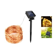 Solar Lamps Copper Wire LED String Lights 20M 10M Outdoor Fairy Lawn Lights for Christmas Garden Patio Holiday Decoration(China)