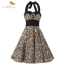 Sexy Dress Halter Sleeveless 2017 Summer Dresses Plus Size Elegant Leopard Print Bandage 50s Vintage Dress Elastic Back VD0256(China (Mainland))