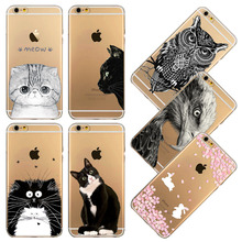 Fundas Phone Case For iPhone 4S 5 5S SE 5C 6 6S / Plus Ultra Thin Transparent Soft Cute Cat Rabbit Owl Mobile Phone Bag Capa