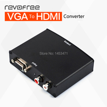 Revofree VGA to HDMI HD converter and personal computer analog to HDTV and VGA to HDMI adapter with audio or video
