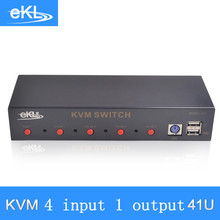 EKL-41U 4 PORT KVM VGA Audio Switch USB PS2 Keyboard Mouse Switch Box with 4 PCS KVM Cable