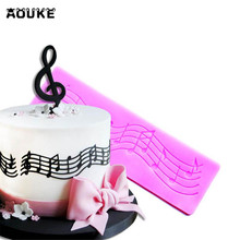 Aouke Musical note Shape Cake Decorating Silicone Mold Chocolate Lace Molds Pastry Baking Tools Wedding Fondant Cake Mould M007