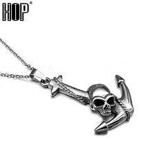 HIP Punk Casting Titanium Stainless Steel Sailor Anchor Skull Pendant Necklaces for Men Jewelry(China)