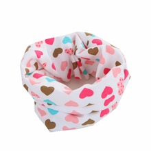 Kids Winter Scarf Love Heart Cartoon Cute Baby Scarves Cotton O Ring Collars Children Ring Scarf Accessories