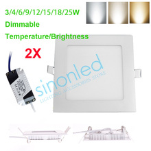 2 sets 3W/4W/6W/9W/12W/15W/18W/25W Square Dimmable Temperature/Brightness LED Ceiling Panel Down Light Warm/Cool/White 86-265V