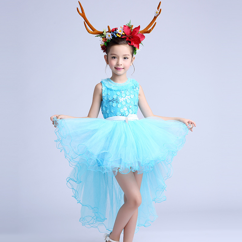 summer 2017 kids dresses for girls wedding dress lace tail dress childrens performances clothing<br>