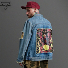 Aelfric Eden Men Washing Water Jacket Ripped Hole Pocket Printing Streetwear Oil Painting Jackets Punk Denim Sweatshirt F341