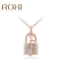 New ROXI White/Rose Gold Color Necklaces Locking & Key Pendants Unique CZ Fashion Jewelry Gifts Necklace For Women Girlfrend(China)