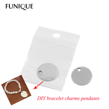 FUNIQUE 20mm Round Stainless Steel Pendant Stamping Blank Dog Tags Pendants Silver Tone Necklace DIY Jewelry Package 10PCS/Set