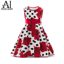 Ai Meng Baby Summer 100% Cotton Comfortable Flower Pattern Girl Dress Polka Dot Children Clothes School Dresses For Girls Baby