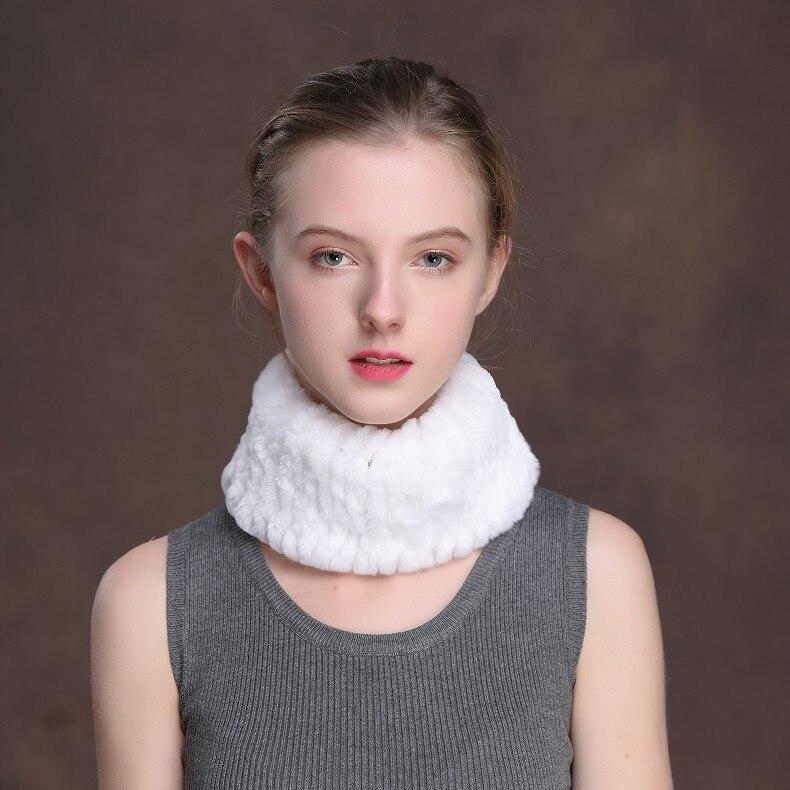 Winter Fur Headbands For Women Knitted Rex Rabbit Fur Scarf Hats Natural Fur Ring hairband Neckwarmer female (13)