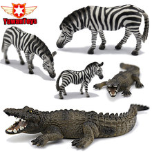 Crocodile Zebra Alligator Wild Animals Toys Set Zoo Modeling Plastic Solid Cute Gift Reptiles Toy Gifts DIY Fun Educational Toys(China)