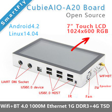 "CubieAIO A20 All In One MiniPC BOX with 7""LCD open source Android Linux UART x4 USB x6 Allwinner A20, ARM DEMO BOARD(China)"