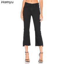 Fast Shipping 2017 Women Fashion Black Flare Jeans Pants Mid Waist Skinny Ankle-Length Hole Rippled Frayed Hem Jeans(China)
