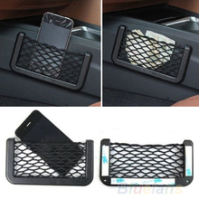 Universal Car Seat Side Back Storage Net Bag Phone Holder Pocket Organizer Black 8P8T