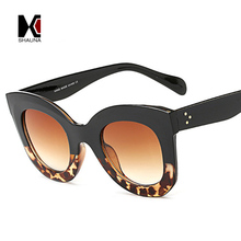 SHAUNA Metal Hinge Classic Women Cateye Sunglasses Fashion Nail Decoration Ladies Gradient Lens Eyewear