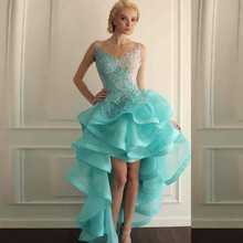 Prom  Dresses Aqua Beaded Sheer Appliques Lace Gorgeous Ruffled Gowns Short Front 2017 Back Long Party real pic Dress
