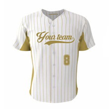 Customized Gold Stripes Hip Pop Style Baseball Shirt Jersey Youth Men & Women Collage SoftBall Exercise Sports Wear Top Jerseys
