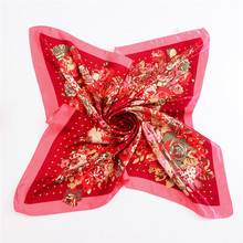 2017 New fashion red dot scarf flower vintage foulard female head hijab scarfs a silk feeling ladies scarves(China)