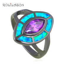 New Promotion Rings for Party Blue Fire Opal Black Gold Tone Zircon Fashion Jewelry Ring USA Sz #6#7#8#9 OR839