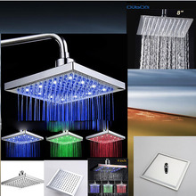 "8"" No Led And With Led Luxury New Bathroom Rainfall Shower head Polished Mixer Taps Shower Faucets Set Chrome Finished"