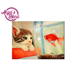 Europe Home Decoration Diamond embroidery animal Pet kitten and goldfish Crafts Needlework home decoration Gifts Christmas(China)