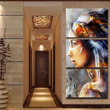 Modern Printed Home Wall Art Decor Pictures HD 3 Pieces Native American Girl Feathered Women Canvas Poster Painting Frame PENGDA(China)