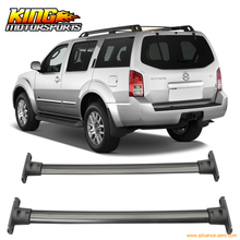For 05-12 Nissan Pathfinder Cross Bar Roof Rack Black Cap Set