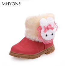 2017 winter cute bunny side children winter boots for girls baby girls snow boots antiskid snow boots baby cotton toddler shoes(China)