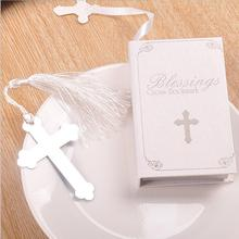 10PCS Blessings Silver Bible Cross Bookmark Party Favor Birthday Giveaway Bridal Baby Shower Wedding Favors and Gifts For Guest(China)