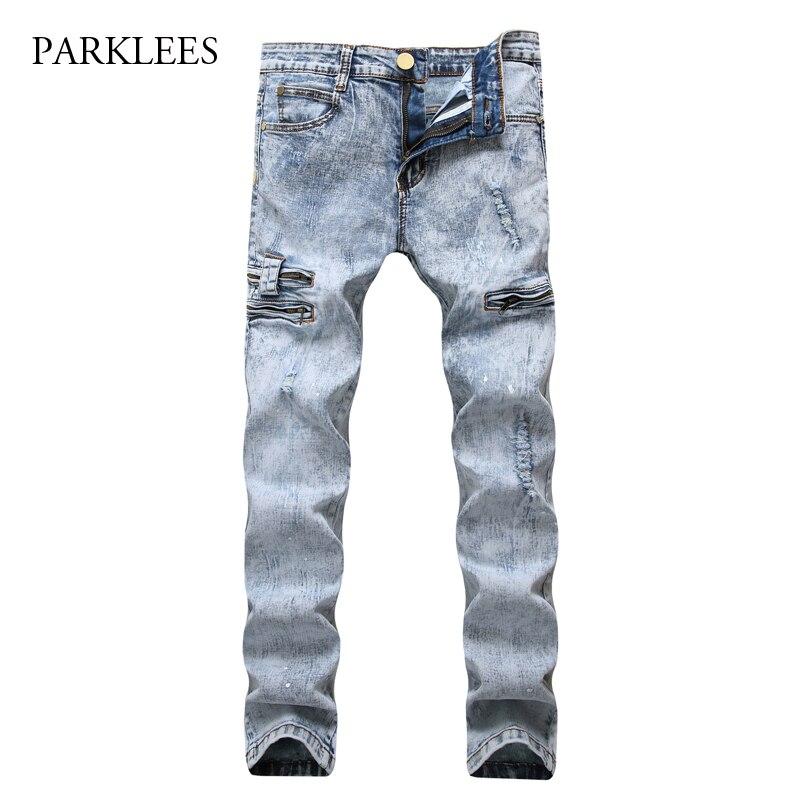 Light Blue Ripped Jeans Men 2017 Hi Street Washed Cotton With Side Pocket Mens Skinny Jeans Casual Hip Hop Slim Fit Jeans HommeÎäåæäà è àêñåññóàðû<br><br>
