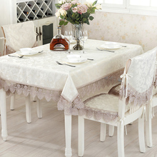 Multi Sizes Elegant Embroidered Cloth Waterproof Tablecloth European Lace Table Runner Chairs Cushions Oilproof Tea Table Cloth
