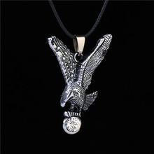 2016 New Men Jewelry Leather Chain Antique Silver Plated Crystal Charm Imitation Titanium Steel Vintage Eagle Pendant Necklace