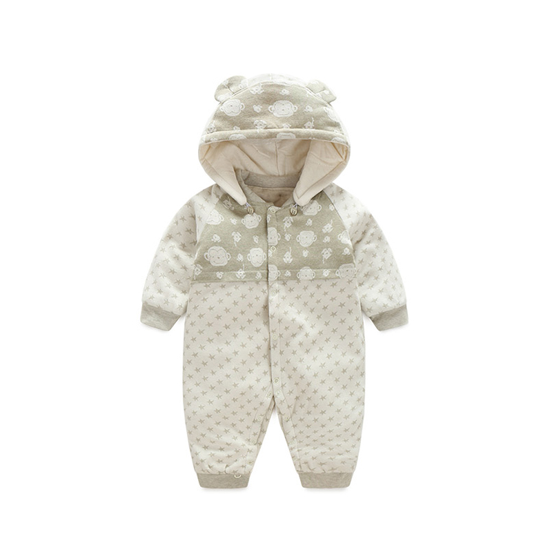2017 PKSAQ Newborn Baby Boy Clothes Winter Rompers Long Sleeve Jumpsuit Overalls for Children Hooded Baby Girls Clothing<br>