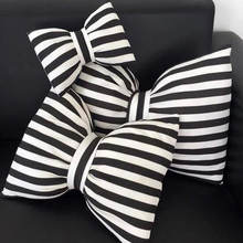 Bowknot Pillows Cushions Cotton Black and White Striped Neck Decorative Soft Pillow Home Decoration 3 Size(China)