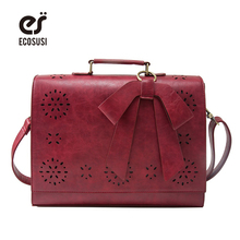 ecosusi Vintage Women Bag Bow Briefcase Women's Handbag Women Classic Ladies Bags Clutch Women Messenger Bags For 14'' Laptop(China)