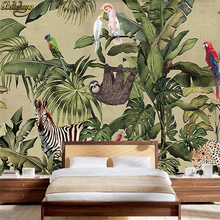 beibehang Custom Photo Wallpaper Murals Vintage Rainforest Animals Palm Leaves Living Room Tv Background Wall papel de parede(China)