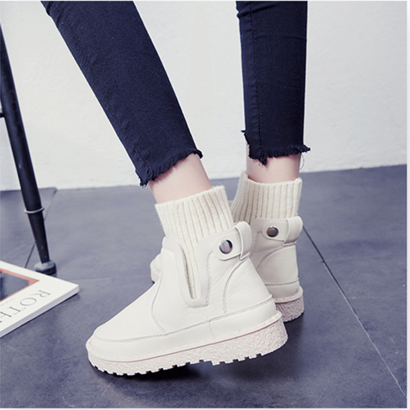 SWYIVY Knitting Short Snow Boots Flat Woman 2018 Autumn Winter New Female Casual Shoes Warm Fur Comfortable Ankle Winter Boots