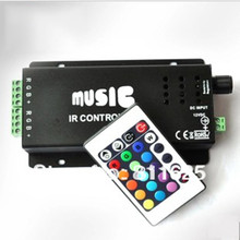 NEW DC12V 144W common anode IR two strip 24key RGB music controller rgb led strip remote controller(China)
