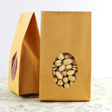10*24+6cm Open Top Brown Kraft Paper Storage Bag 20Pcs/ Lot Heat Seal Coffee Biscuit Bread Nut Candy Organ Pocket With Window